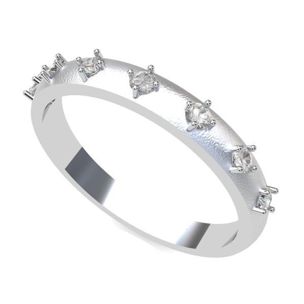 White Gold American Diamond Band Ring