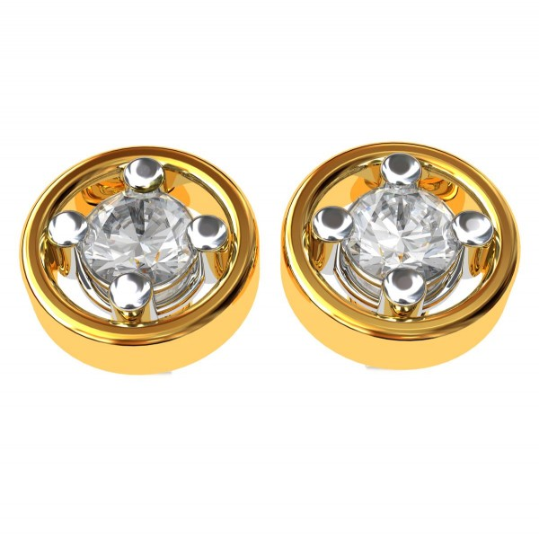 Gold Solitaire Stud Earring