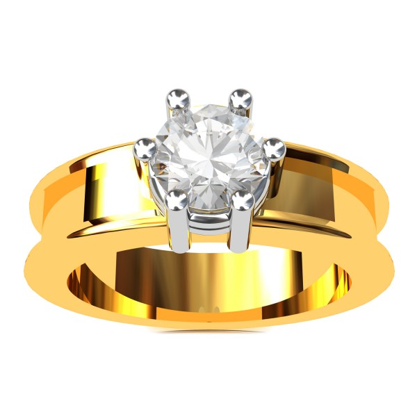 Round Solitaire American Diamond Ring