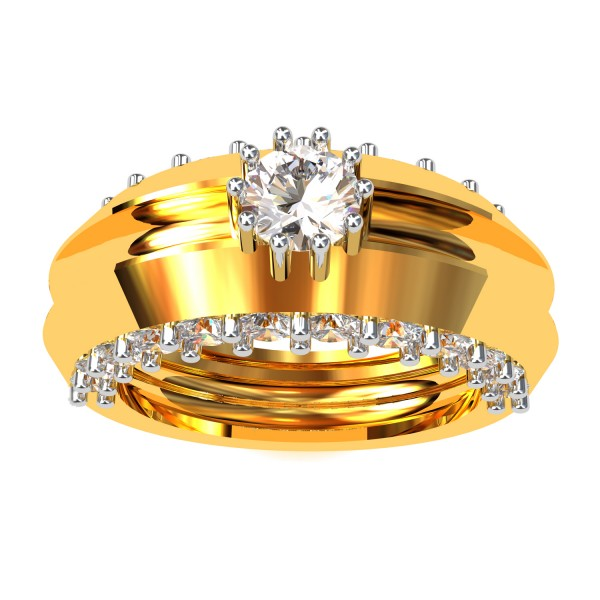 Gold Band Solitaire Engagement Rings