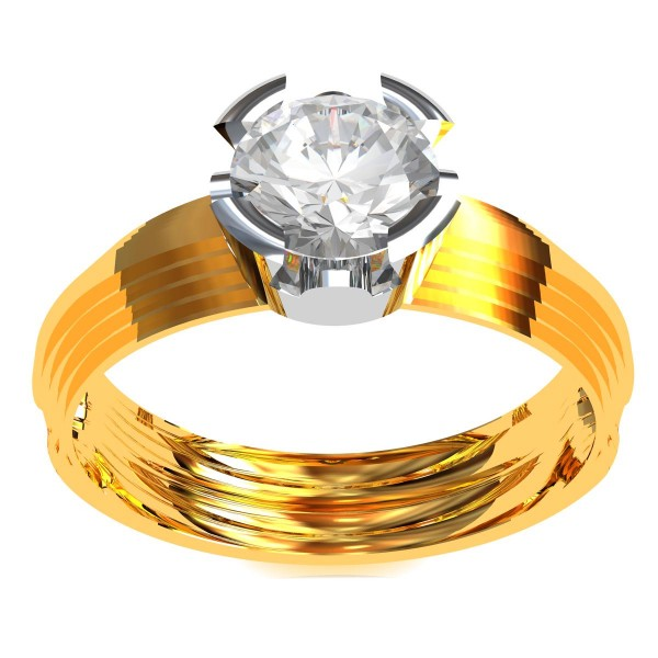 Gold Band Solitaire Engagement Ring