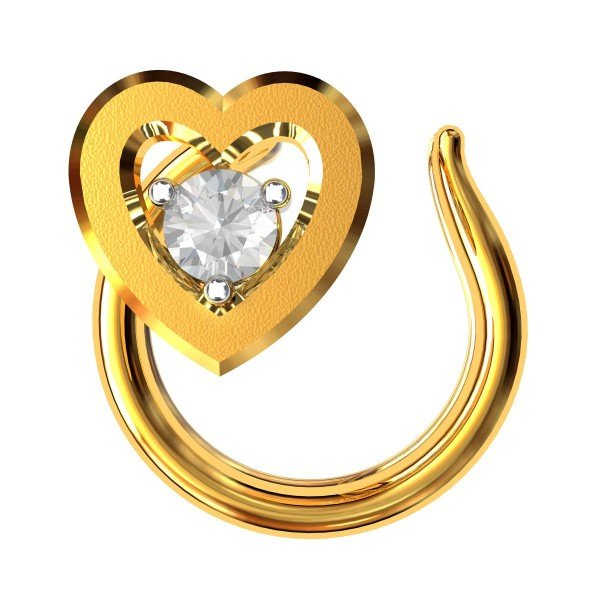 Gold American Diamond Heart Nose Pin
