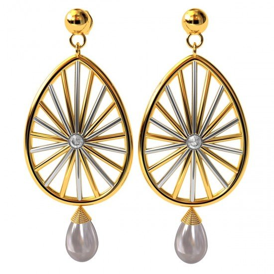American Diamond Pearl Drop Earring