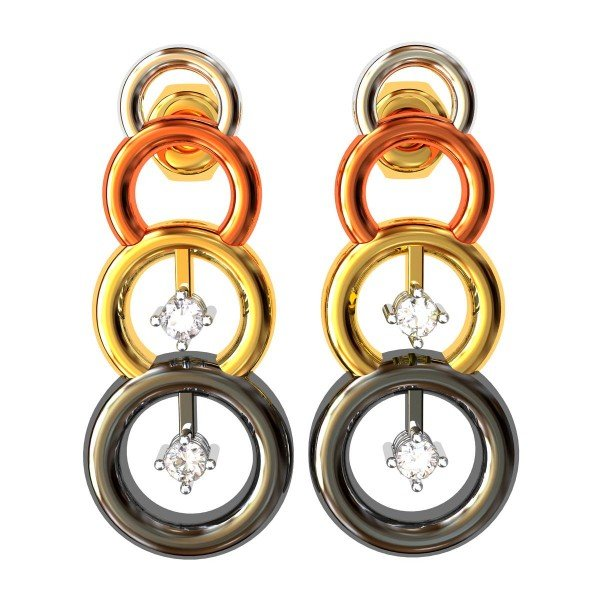 Four Color Gold American Diamond Earring