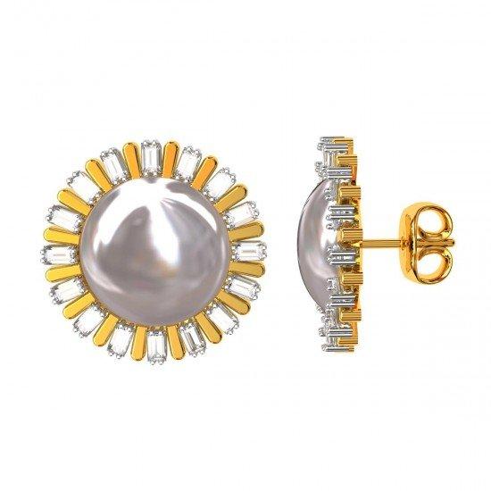 American Diamond Baguettes Pearl Stud Earrings