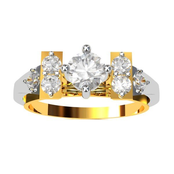 Solitaire American Diamond With American Diamond Band