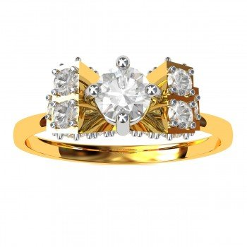 Gold Solitaire American Diamond Ring