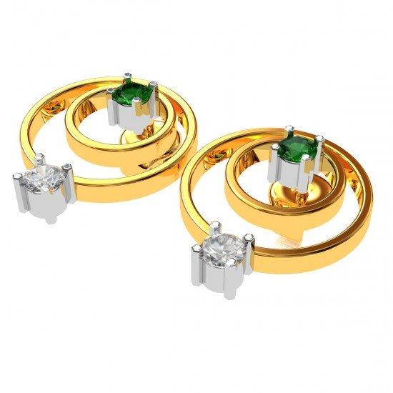 American Diamond Emerald Circular Earring