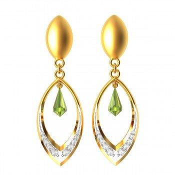 Paridot Drop American Diamond Earring