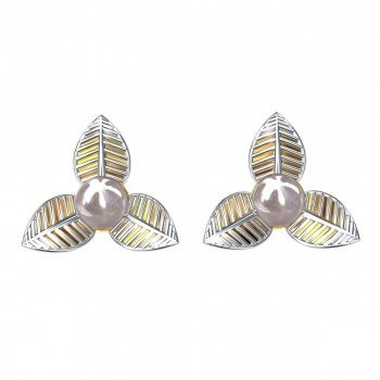 Rhodium Plated Pearl Earring