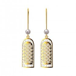 Pearl American Diamond Dangling Earring