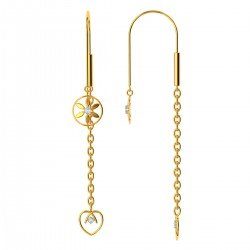 Floral Gold Drop Earrings