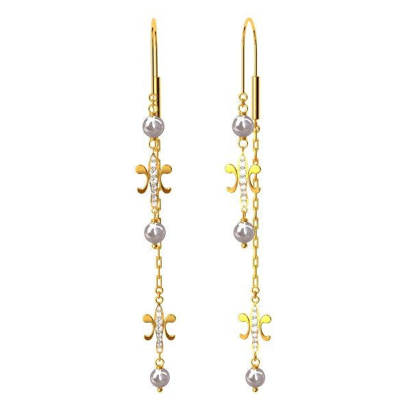 Butterfly American Diamond Gold Earring