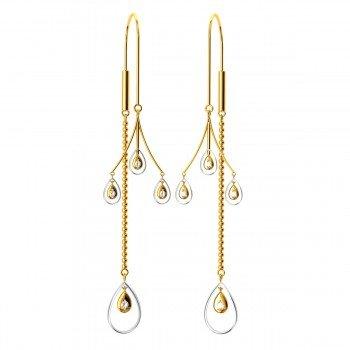 American Diamond Tear Drop Gold Earrings
