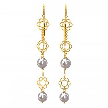 Floral Pearl Hook Gold Earring