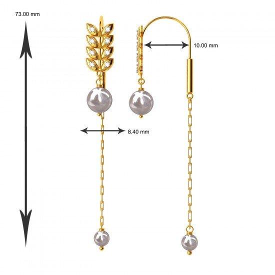 Leaf Shaped American Diamond Pearl Earring