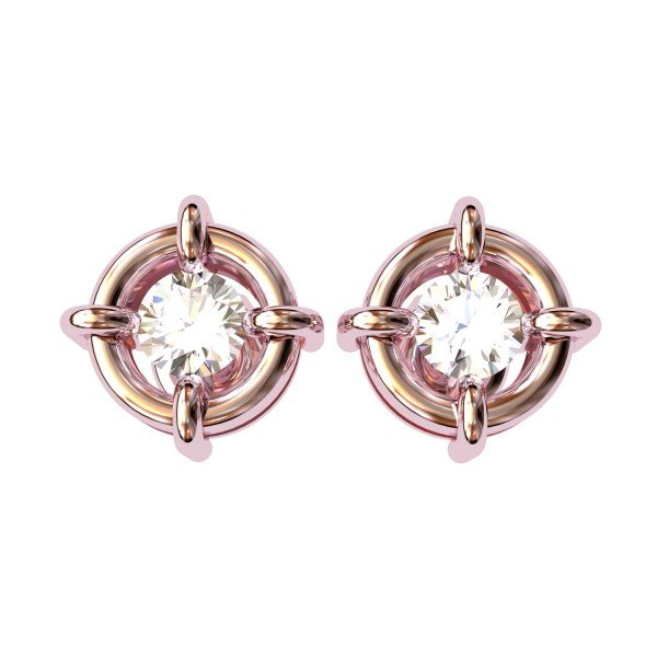 Rose Gold American Diamond Stud Earring