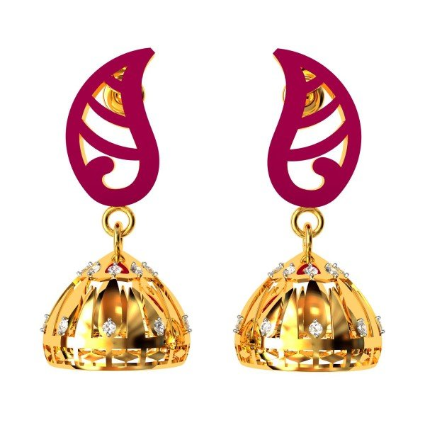 American Diamond Enamel Jhumka Earrings