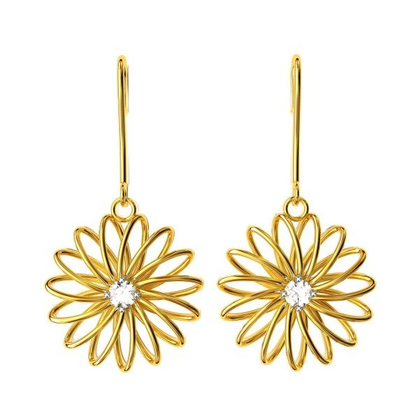 Sprial Gold American Diamond Dangling Earring