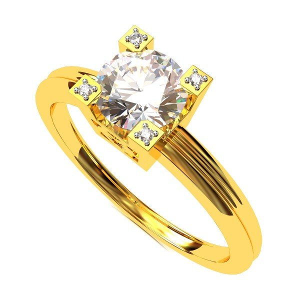 Stylish Solitaire American Diamond Ring