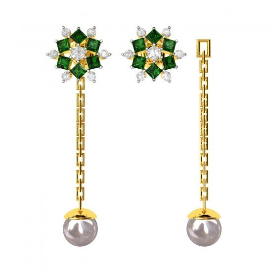 Changeable Tops Dangling Emerald Earring