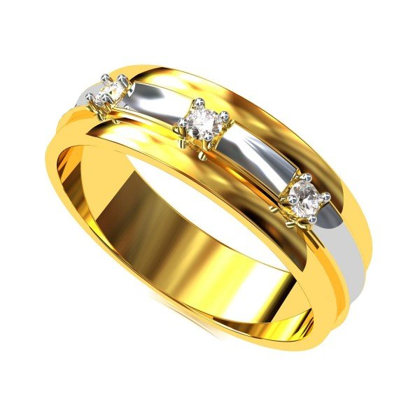 Gold American Diamond Wedding Band