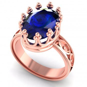 Crown Rose Gold Blue Sapphire Ring