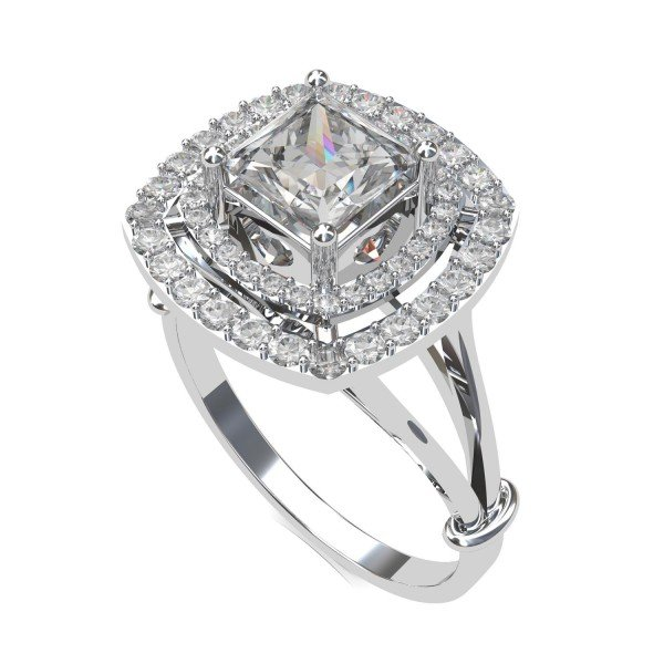 Princess Cut American Diamond Solitaire Ring