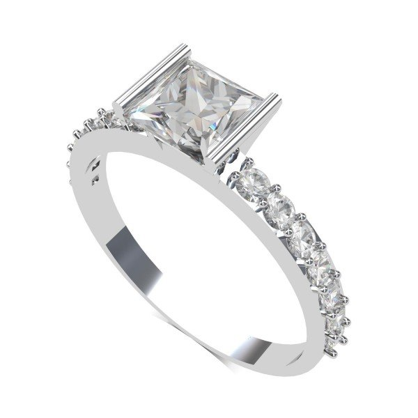 White Gold Princess Cut Ring