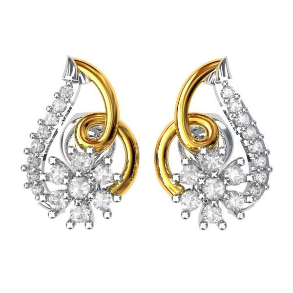 Artificial Diamond Gold Earring