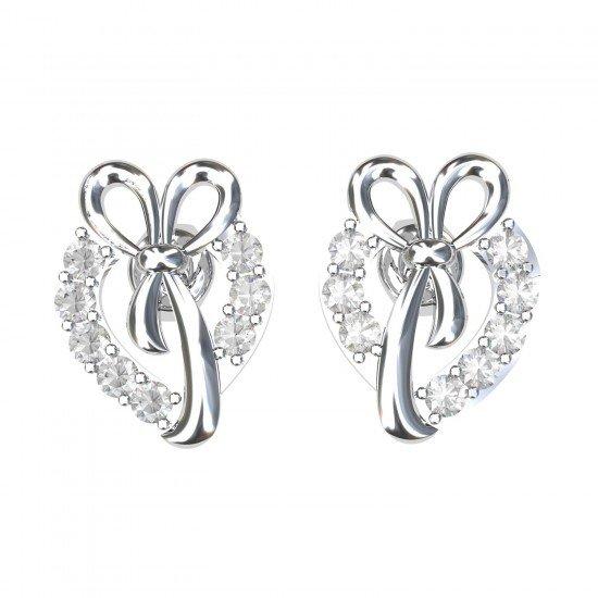 White Gold Heart Earrings Studs