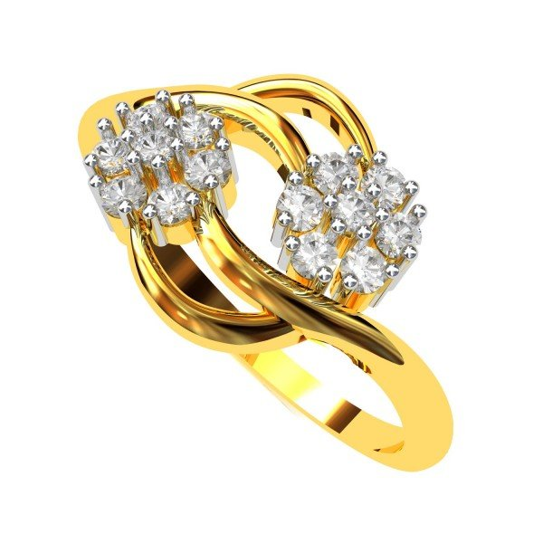 Double Cluster American Diamond Ring