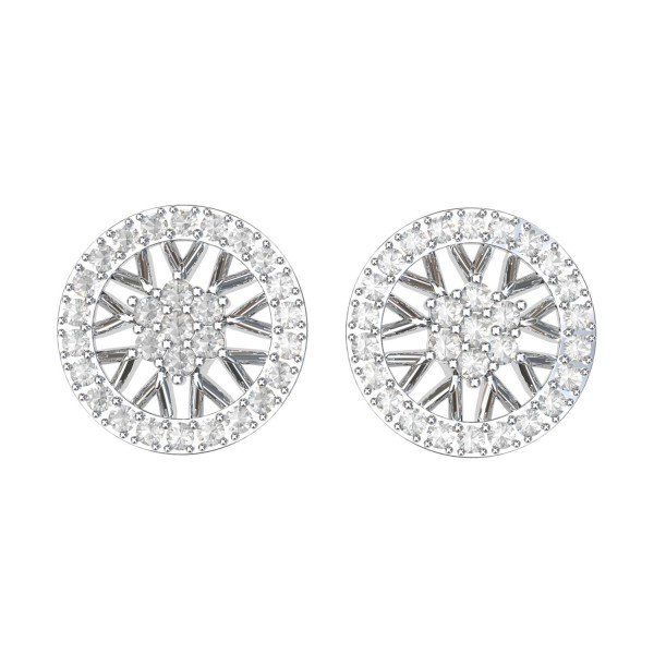 White Gold CZ Diamond Earring