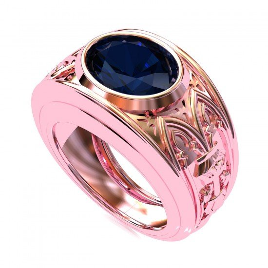 Gilded Age Men Sapphire Rose Gold Ring