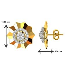 Yellow Gold Cluster Diamond Earring