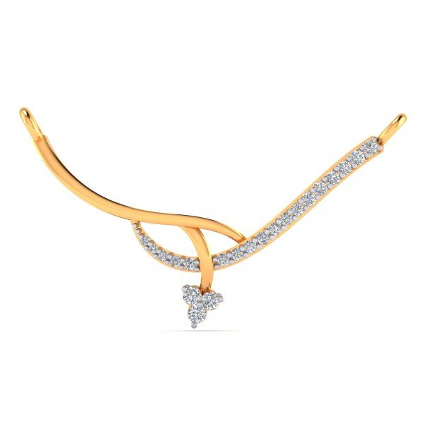 Gold And Artificial Diamond Mangalsutra Pendant