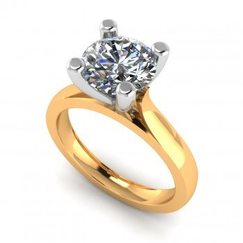 14K Gold Simple Solitaire Ring