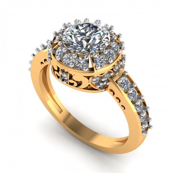 Yellow 14K Hallmarked Gold Solitaire Cocktail Ring