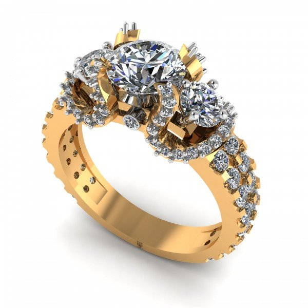 Gold Solitaire Cocktail Ring