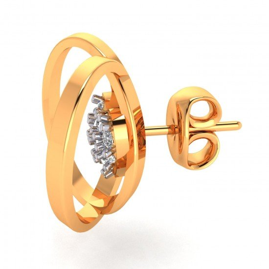 Round Heart Gold Earring